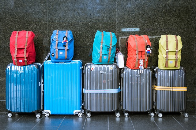 Luggage lined up in airport during winter travel