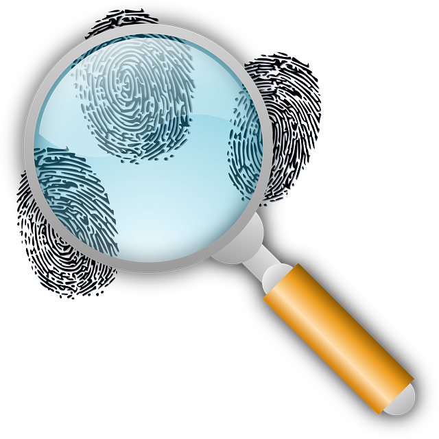 Fingerprints with magnifying glass