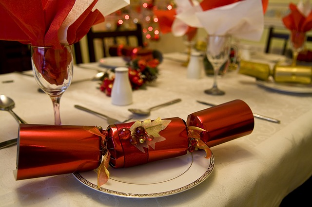The holiday party set at the dinner table