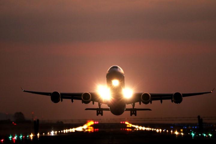 Flight taking off from international airport