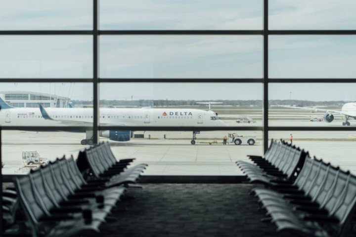 Inside of New York airport with Delta plane
